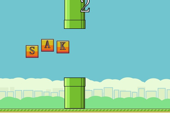 奇葩版Flappy Bird,HTML5 Flappy Text游戏