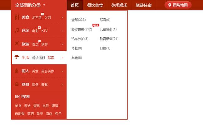 电商网站分类导航