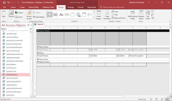 Report Design View