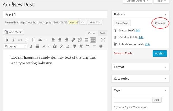 wordpress教程之 WordPress 预览文章