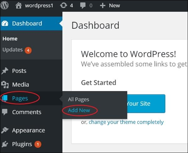wordpress教程之 WordPress 添加页面