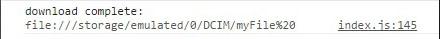 Cordova File Transfer Download Log