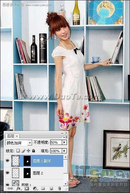 Photoshop为美女衣裳添加花纹特效实例