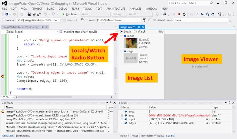 在Visual Studio调试器中查看内存中的图像