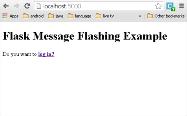 Flask Message Flashing Example