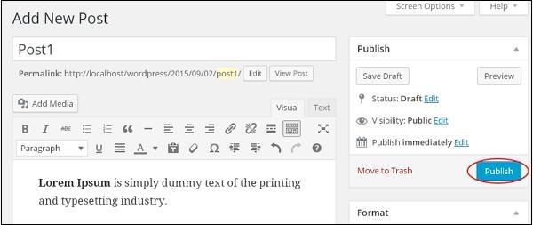 wordpress教程 之 wordpress添加文章